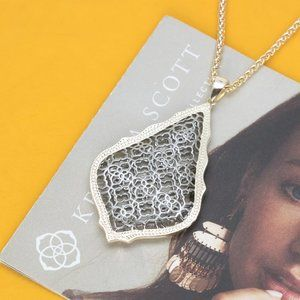 Kendra Scott Aiden Gold Long Necklace In Silver